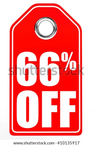 Discount 66 percent off. 3D illustration on white background. - stock photo