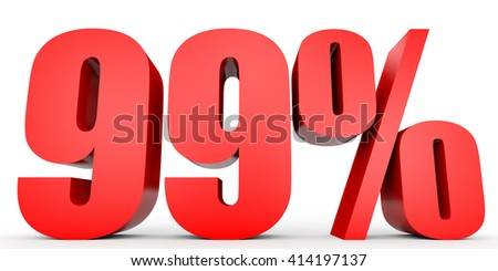 Discount 99 percent off. 3D illustration on white background. - stock photo