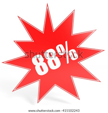 Discount 88 percent off. 3D illustration on white background. - stock photo