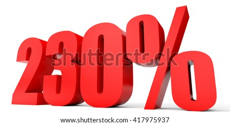 Discount 230 percent off. 3D illustration on white background. - stock photo