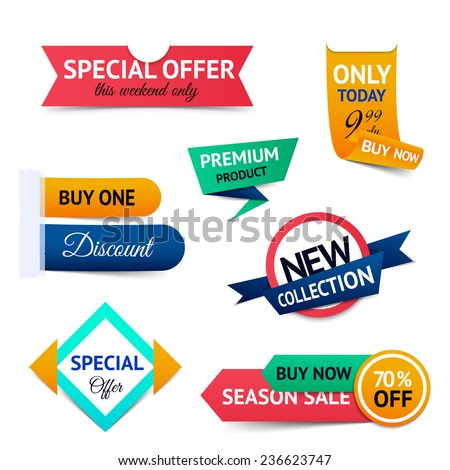 Discount premium product special offer retro color origami ribbon banner set isolated  illustration - stock photo