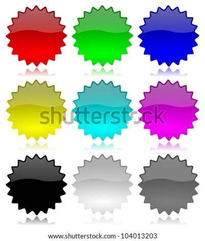 Discount, special offer, promo and new concept empty glossy labels set with reflection illustration - stock photo