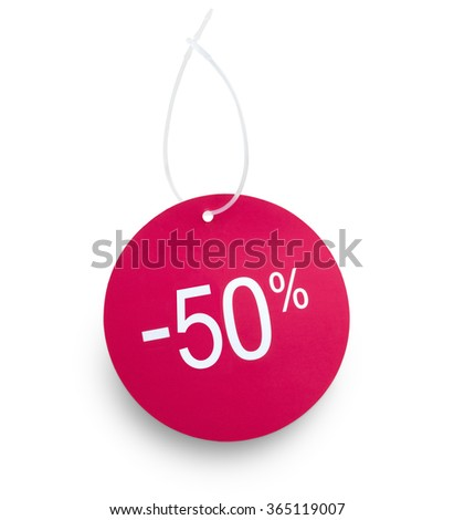 Discount tag 50% off red color against white background. Clipping path on tag and hanger tape - stock photo