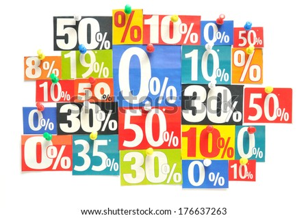 Discount - Various colored newspaper percent snippets - stock photo