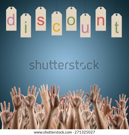 Discount word on labels over blue gradient background, people's hands lifted up in the air.. Sale poster. Festive backdrop poster on Black Friday theme with copy space and clipping pass. - stock photo