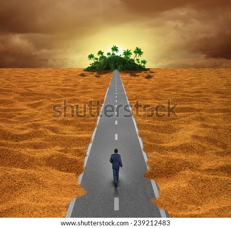 Discover opportunity  business concept for success as a person walking on a desert road to an oasis of hope for the future or a journey of spiritual reward.. - stock photo
