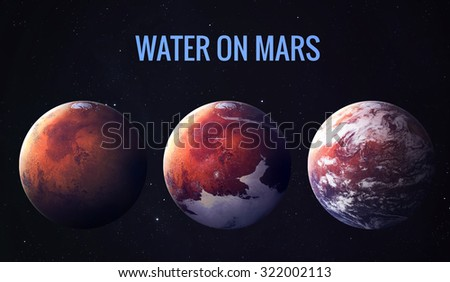 Discovered liquid water on the planet mars, great science discovery. Elements of this image furnished by NASA - stock photo