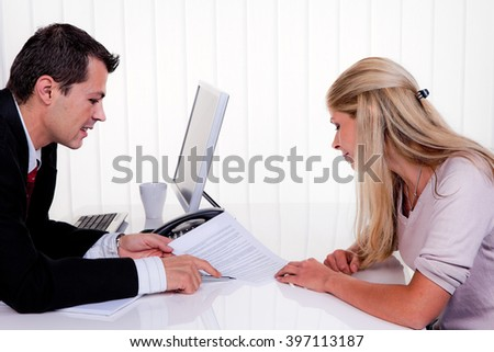 discussion at a consultation - stock photo