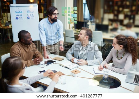 Discussion in office - stock photo