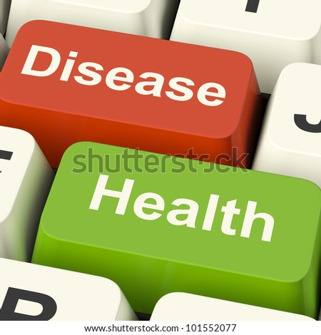 Disease And Health Computer Keys Showing Online Healthcare Or Treatments - stock photo