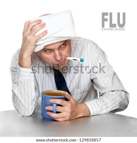 Diseased man in the office. Infection control concept. - stock photo