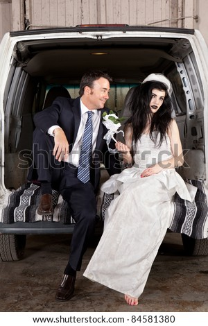 Disenchanted bride cheap wedding - stock photo