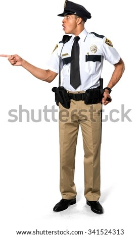 Disgusted African young man with short black hair in uniform holding prop - Isolated - stock photo