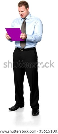 Disgusted Caucasian young man with short medium brown hair in business formal outfit using medium sign - Isolated - stock photo