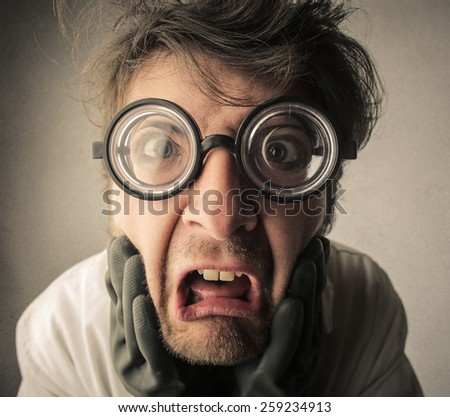 Disgusted scientist  - stock photo