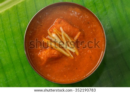 Dish butter chicken curry overlook in India - stock photo