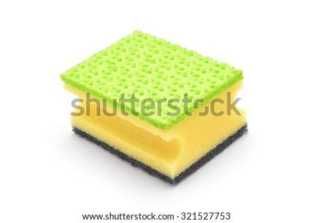 dish cleaning sponge isolated on white - stock photo