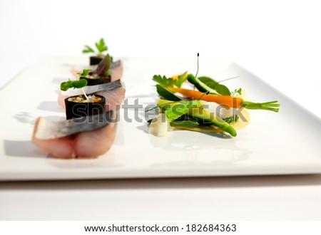 Dish of gastronomy fish maquerel - stock photo