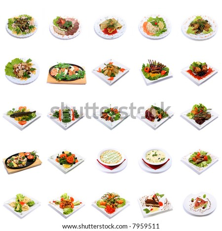 dish selection isolated on white background - stock photo