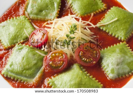 dish served hot and delicious spinach ravioli - stock photo