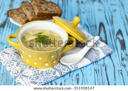 dish, useful, kitchen, bowl, diet, chicken, broth, soup, utensils, tasty, lunch, gastronomy, cook, appetizing, appetite, menu, cooking, noodles, food, ware, cookery - stock photo