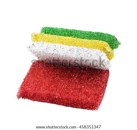 dish washing sponge on white background - stock photo