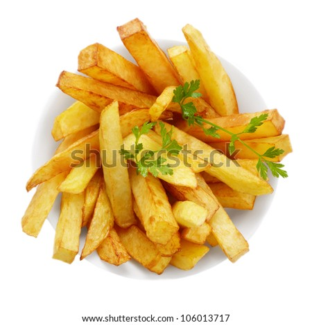 Dish with french fries isolated over white background - stock photo