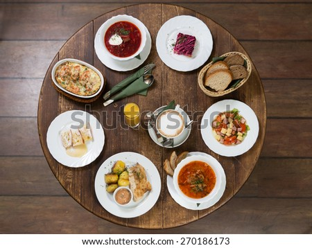 Dishes from the menu at the business lunch - stock photo