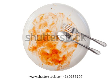Dishes of end eating Spaghetti with tomato sauce and ham in isolated white - stock photo
