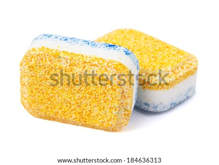 Dishwasher tablets on white background, isolate - stock photo