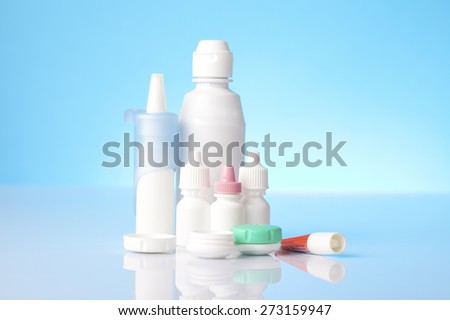 Disinfecting solution for contact lenses and eye and allergy treatment items - stock photo