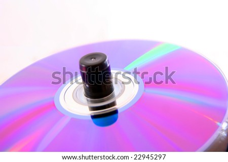 Disk for computers are removed under a corner on an axis - stock photo
