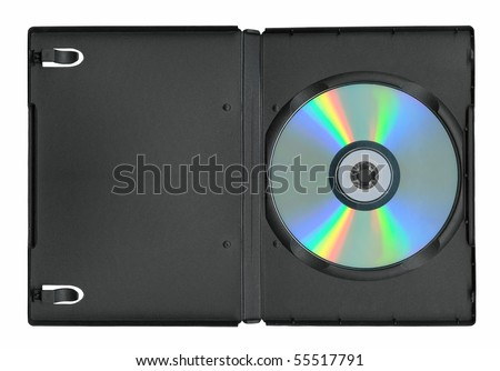 Disk in the case isolated on white - stock photo