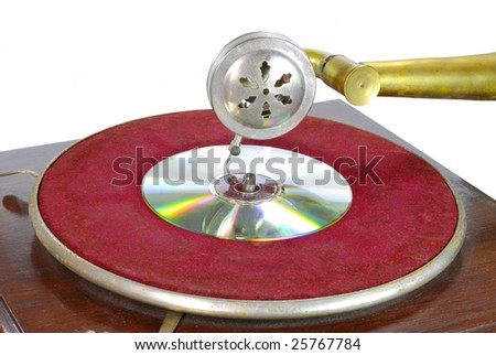 Disk of old record player isolated over white background - stock photo