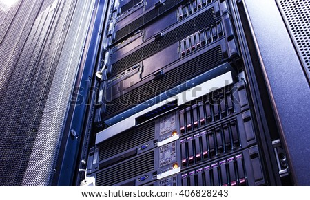 disk storage blades in the mainframe server room - stock photo
