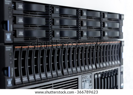 disk storage drives form factor 2.5-inch disk storage drive form factor of 3.5 inches in a single server rack - stock photo