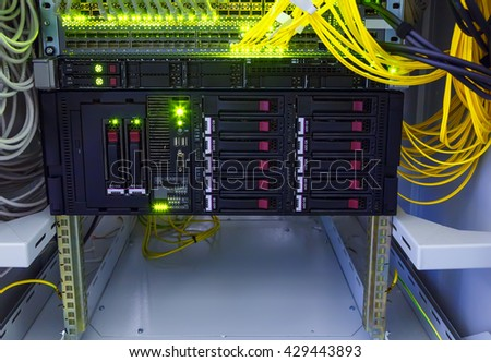 disk storage for the switch cables in a data center - stock photo
