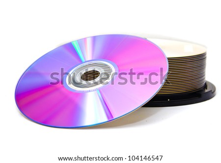 disks on a white background - stock photo