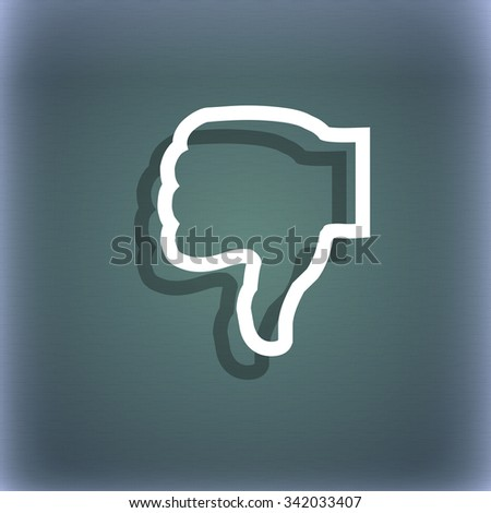 Dislike icon symbol on the blue-green abstract background with shadow and space for your text. illustration - stock photo