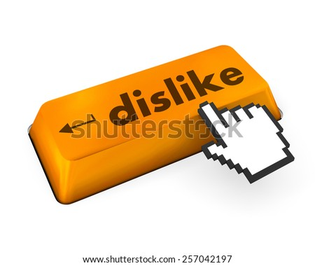 dislike key on keyboard for anti social media concepts - stock photo