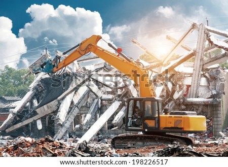 dismantling an apartment block. - stock photo
