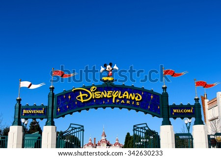 DISNEYLAND, PARIS - NOVEMBER 22, 2015: Disneyland amusement park entrance in Paris, France. Disneyland is the first entertainment group in the world in 2012. - stock photo
