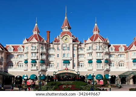 DISNEYLAND, PARIS - NOVEMBER 22, 2015: Disneyland Park in Paris, France. Disney is the first entertainment group in the world in 2012. - stock photo
