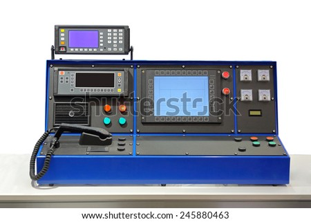 Dispatcher console desk in control room - stock photo