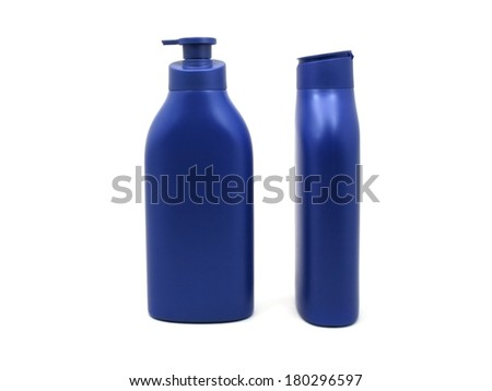 Dispenser Pump Cosmetic Or Hygiene Blue, Plastic Bottle Of Gel, Liquid Soap, Lotion, Cream, Shampoo isolated - stock photo