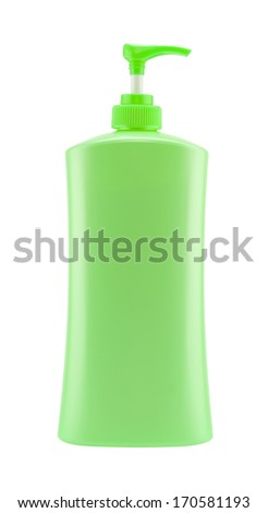 Dispenser Pump Cosmetic Or Hygiene Green,  Plastic Bottle Of Gel, Liquid Soap, Lotion, Cream, Shampoo - stock photo