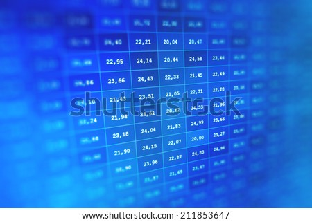 Display of Blue Colored stock market ticker on bar chart.Financial data graph at stock exchange.Business company financial balance stock Quotes at real time at the stock exchange. Shallow DOF effect - stock photo