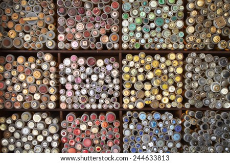 Display Of Colorful Buttons On Market Stall - stock photo