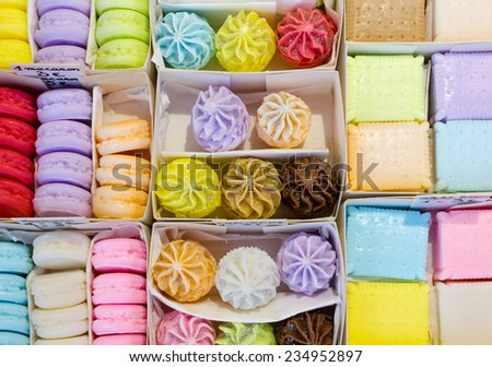 Display of Multicolored Cookie Shaped Marseille Soaps - stock photo