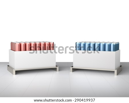 display with blank cans - stock photo